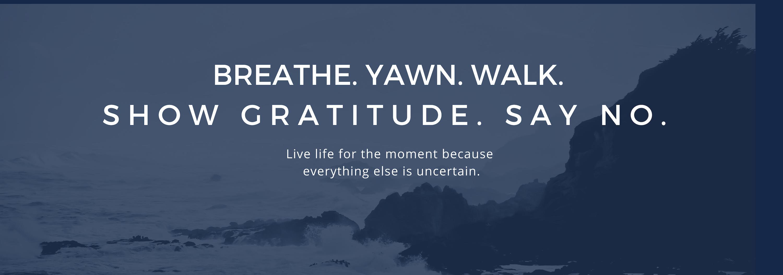 stress, breathe, yawn, gratituse, 5 things, five, steps, goals