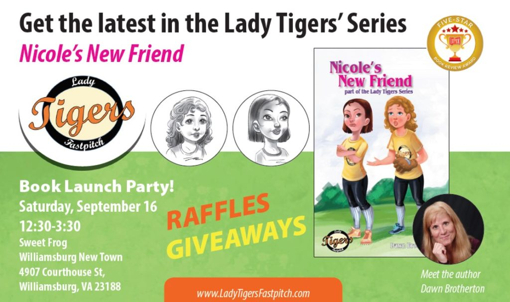 book launch, lady tigers, brotherton, nicole, softball, fastpitch, sports, friendship, mean, bully, Nicole's New Friend
